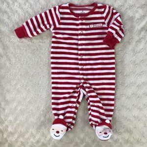 Carter's Santa's Helper Footed Pajamas Red Stripe